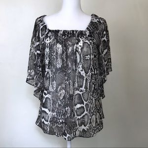 Willi Smith Snakeskin Blouse Sheer Bat Wing Top M